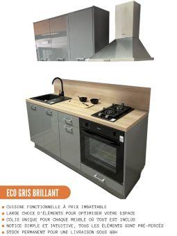 Meuble haut de cuisine - 2 portes, L 60 cm - gris brillant