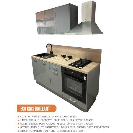 Meuble haut de cuisine - 2 portes vitrées, L 80 cm - gris brillant