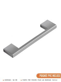 Meuble haut de cuisine - 2 portes, L 80 cm - gris brillant