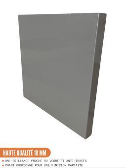 Meuble d'angle bas - 1 porte, L 105 cm - gris brillant