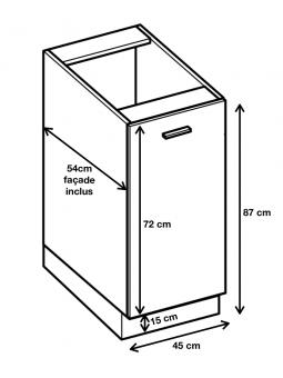 meuble bas de cuisine 1 porte l 45 cm