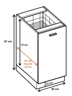 Dimension du meuble ref : D 20 CARGO.