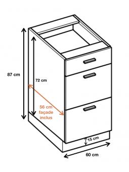 Dimension du meuble  ref : DSW6/3.