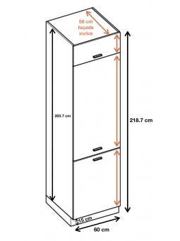 Dimension de la colonne de cuisine pour frigo encastrable ref : ZL6.
