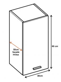 Dimension du meuble haut (W3/60) de la cuisine ECO.