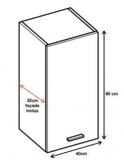 Dimension du meuble haut (W4/60) de la cuisine ECO.