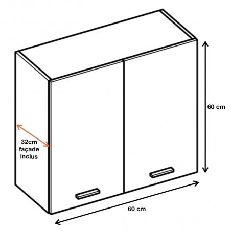 Meuble haut de cuisine 60 cm, 2 portes - ECO Gris | Cuisineandcie