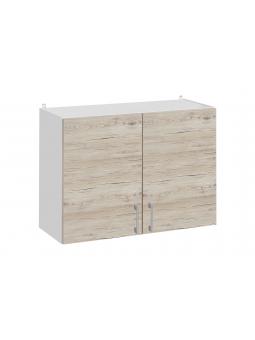 Meuble haut de cuisine - 2 portes, L 80 cm - décor noyer blanchi
