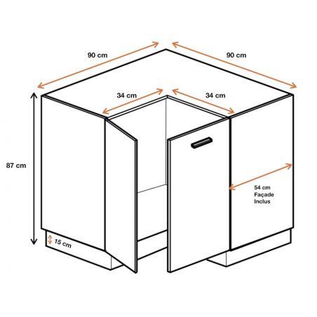 Meuble d'angle bas - 2 portes, L 90/90 cm