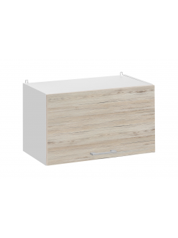Meuble haut de cuisine - 1 porte relevable L 60 cm - décor noyer blanchi