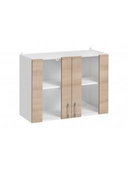 Meuble haut de cuisine - 2 portes vitrées, L 80 cm - décor chêne naturel