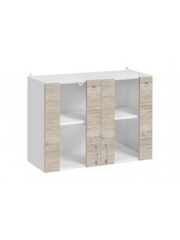 Meuble haut de cuisine - 2 portes vitrées, L 80 cm - décor noyer blanchi