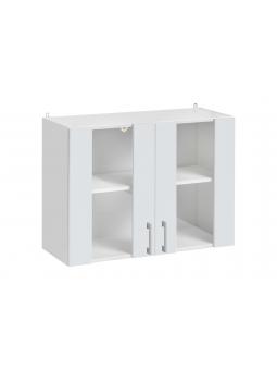 Meuble haut avec des portes vitrées de la cuisine ECO, blanc brillant.