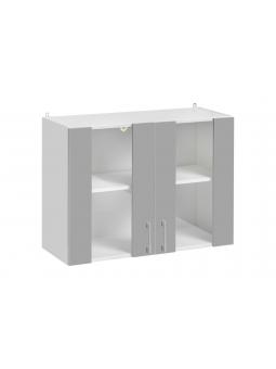Meuble haut avec des portes vitrées de la cuisine ECO, gris brillant.