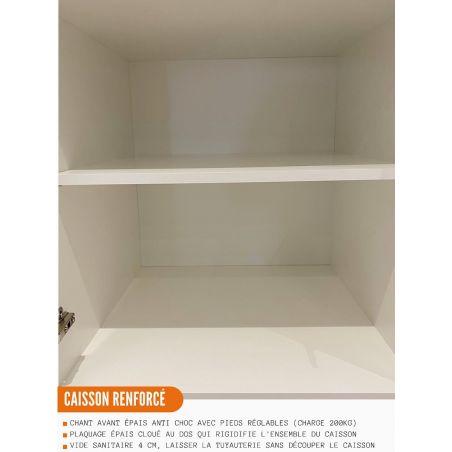 Meuble bas de cuisine - 1 porte + 1 tiroir L 40 cm - gris brillant