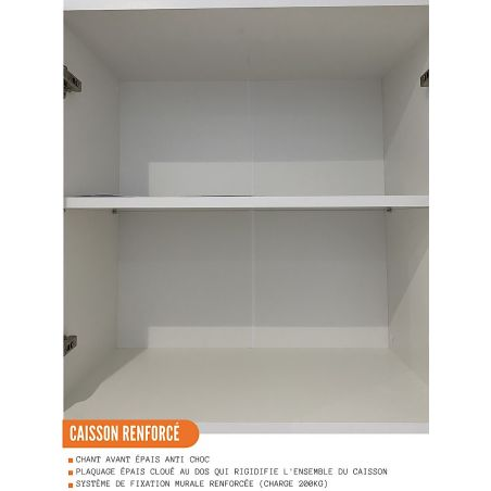Meuble haut de cuisine - 2 portes vitrées, L 80 cm