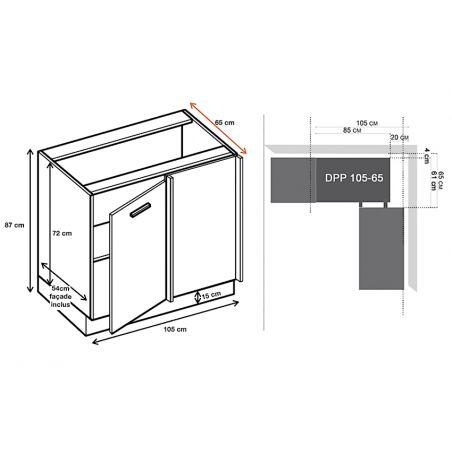 Meuble d'angle bas - 1 porte, L 105 cm