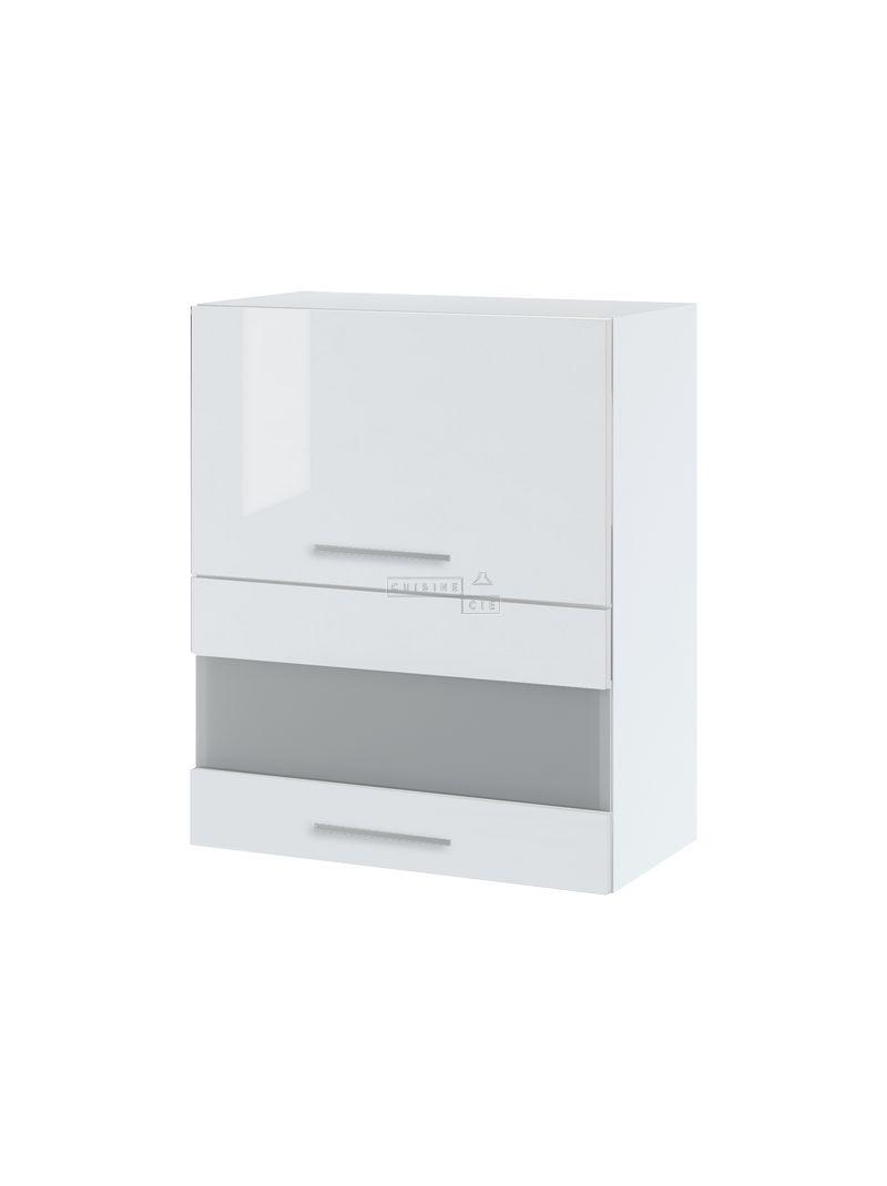 Meuble haut de cuisine - 2 portes relevables avec vitre opaque, L 60 cm