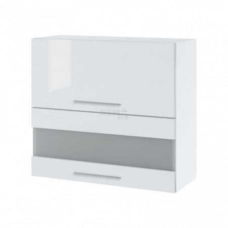 Meuble haut de cuisine - 2 portes relevables avec vitre opaque, L 80 cm