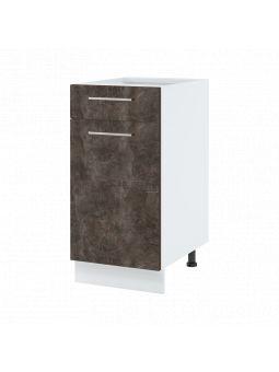 Meuble bas de cuisine - 1 porte + 1 tiroir, L 40 cm - bellissi beton ardoise