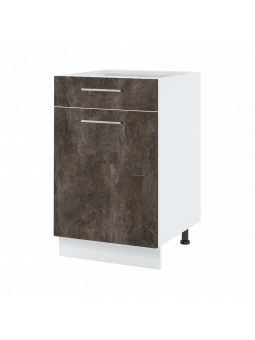 Meuble bas de cuisine - 1 porte + 1 tiroir, L 60 cm - bellissi beton ardoise