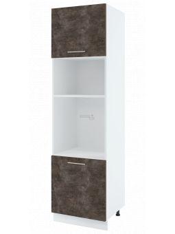 Colonne de cuisine pour micro-onde et four encastrable - 2 portes, L 60 cm - bellissi beton ardoise
