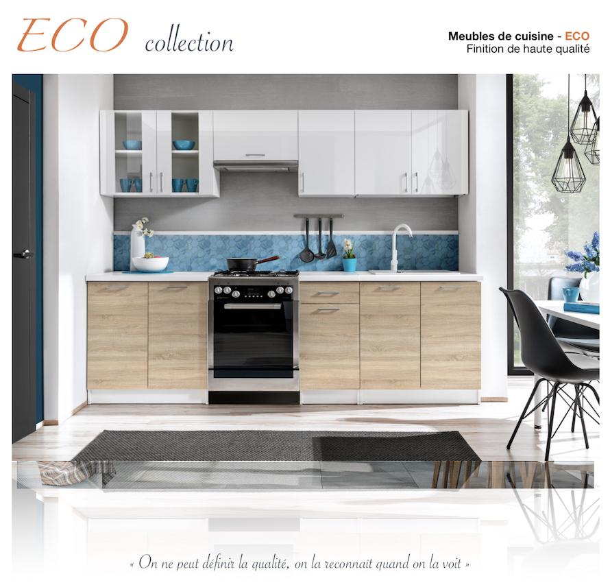ECO cuisine complète 240 cm - gris brillant 544 ...